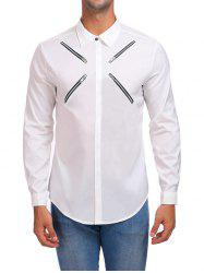 Zippers Hidden Button Casual Shirt -
