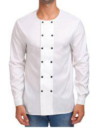 Solid Double Breasted Long Sleeve Shirt -