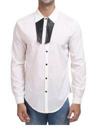 Contrast Color Turn Down Collar Shirt -