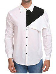 Contrast Color Button Up Casual Shirt -
