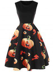 Halloween Pumpkin Monster Print Flare Dress -