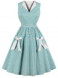 Vintage Gingham Bowknot Pin Up Dress -