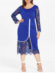 Plus Size Lace Panel Zipper Bodycon Dress -