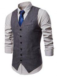 V Neck Solid Color Single Breasted Waistcoat -