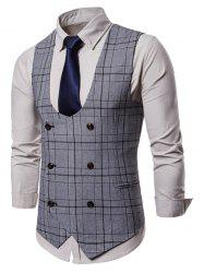 Plaid Pattern Double Breasted Waistcoat -