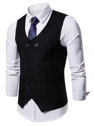 Solid Color Double Breasted Waistcoat -