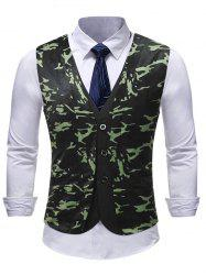 Camouflage Pattern Single Breasted Waistcoat -