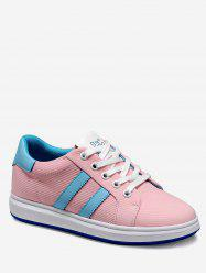 Contrast Striped Lacing Skate Sneakers -