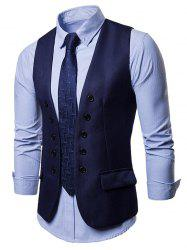 Double Breasted Embellished Solid Color Waistcoat -