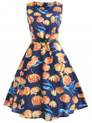 Tulip Print Fit and Flare Dress -