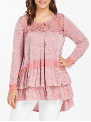 Plus Size Lace Panel Long Sleeve Tiered Top -