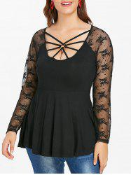 Plus Size Lace Panel O Ring Cut Out Tee -