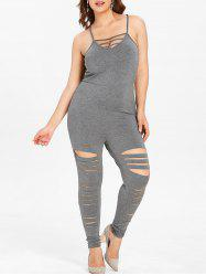 Plus Size Ripped Cami Jumpsuit with Lattice -