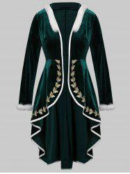 Plus Size Embroidery Hooded Fur Trim High Low Christmas Velvet Coat -