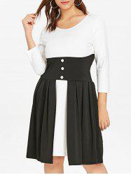 Plus Size Color Block Knee Length Dress -