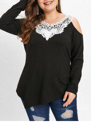 Cold Shoulder Plus Size Applique T-shirt -
