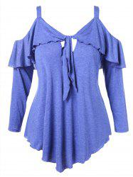 Open Shoulder Plus Size Ruffle T-shirt -
