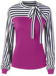 Bowknot Long Sleeve Striped Top -