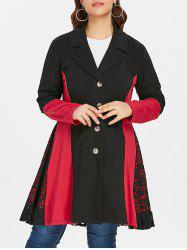 Lace Panel Plus Size Color Block Coat -