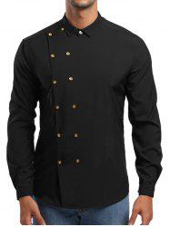 Double Breasted Turn Down Collar Shirt -