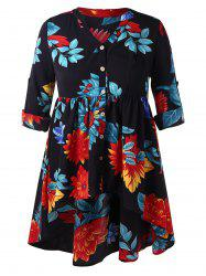 Plus Size Floral High Low Peplum Blouse -