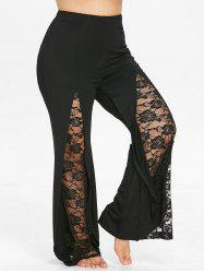 Plus Size Floral Lace Flare Pants -