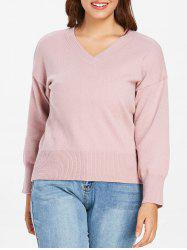 Plus Size  V Neck Ribbed Detail Sweater -