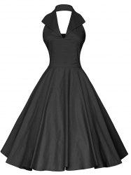 Plus Size Vintage Open Back Halter Flare Dress -