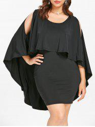Plus Size Open Shoulder Mini Cape Dress -