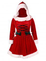 Bowknot Plus Size Lace-up Christmas Dress -