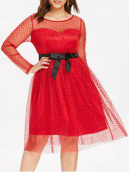 Plus Size Dotted Mesh Fit and Flare Dress -