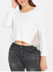 Plus Size Lace Panel High Low Top -