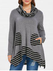Plus Size Pockets Longline T-shirt with Scarf -