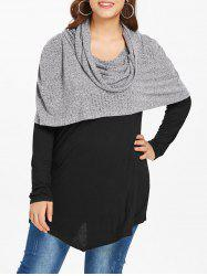 Plus Size Spliced Longline Hooded Sweater -