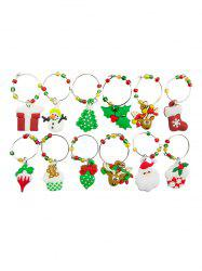 Christmas Theme Pattern Wine Charm Ring Set -