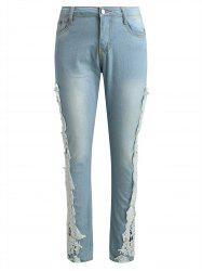 Lace Panel Tapered Jeans -