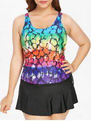 Plus Size Ombre Cinched Padded Tankini Set -
