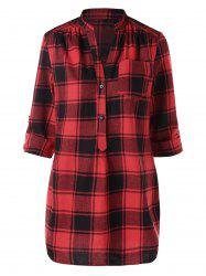 Half Button Front Pocket Tartan Blouse -