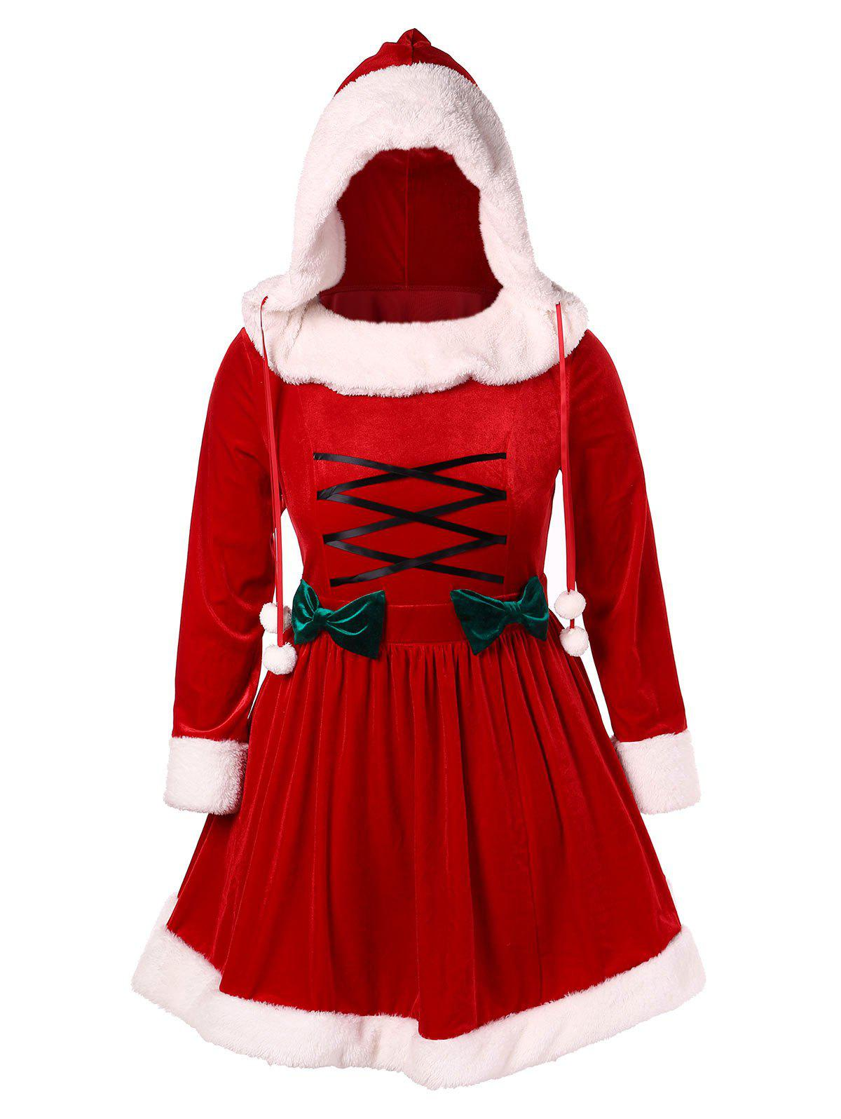 Fancy Bowknot Plus Size Lace-up Christmas Dress