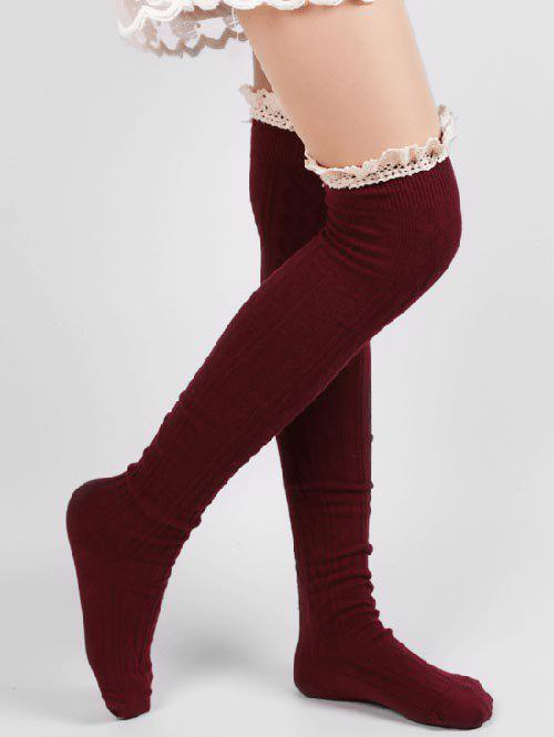 Cheap Cute Solid Color Lace Thigh Stockings