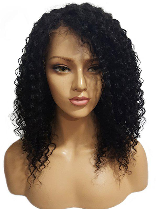 Trendy Long Side Bang Kinky Curly Synthetic Lace Front Wig