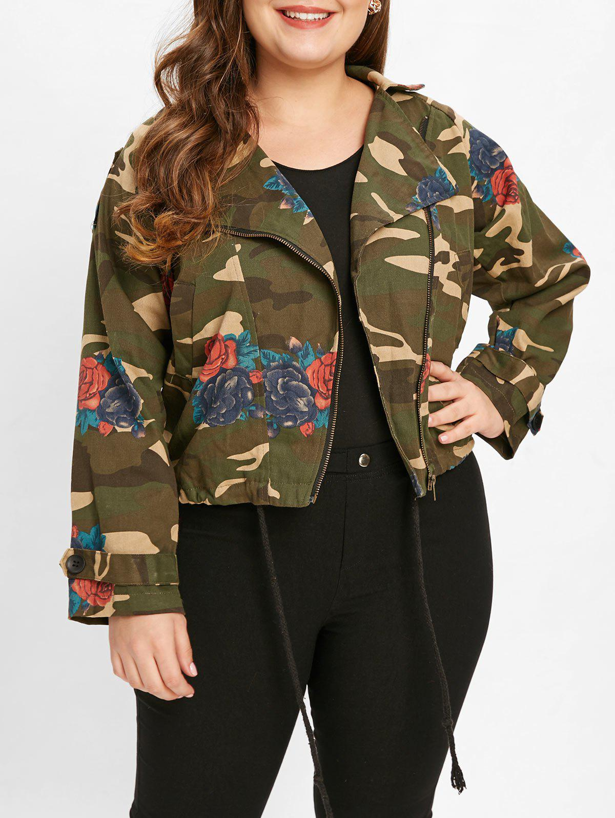 Cheap Floral Print Plus Size Camouflage Jacket