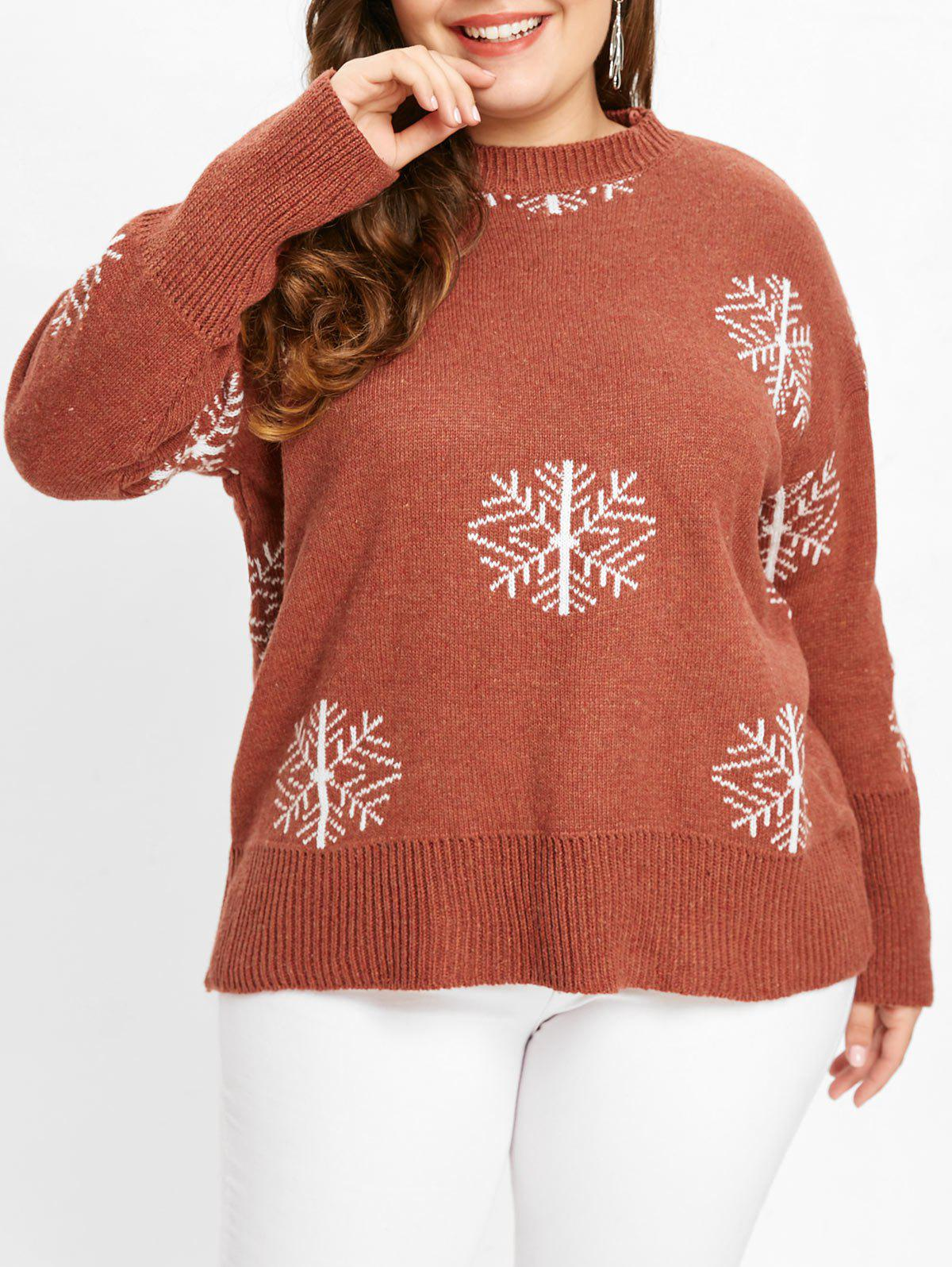 Affordable Drop Shoulder Plus Size Snowflake Print Sweater