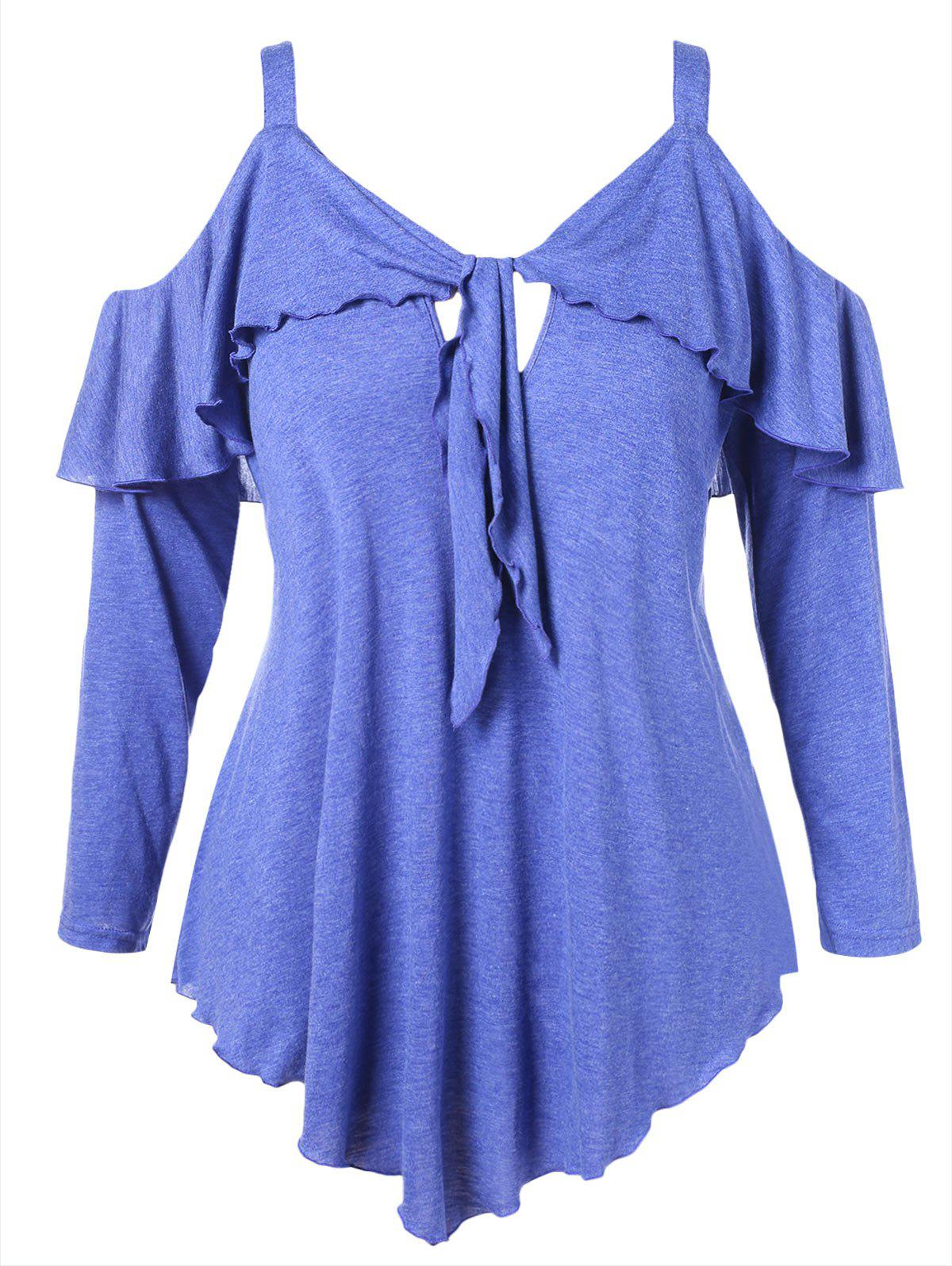 Buy Open Shoulder Plus Size Ruffle T-shirt