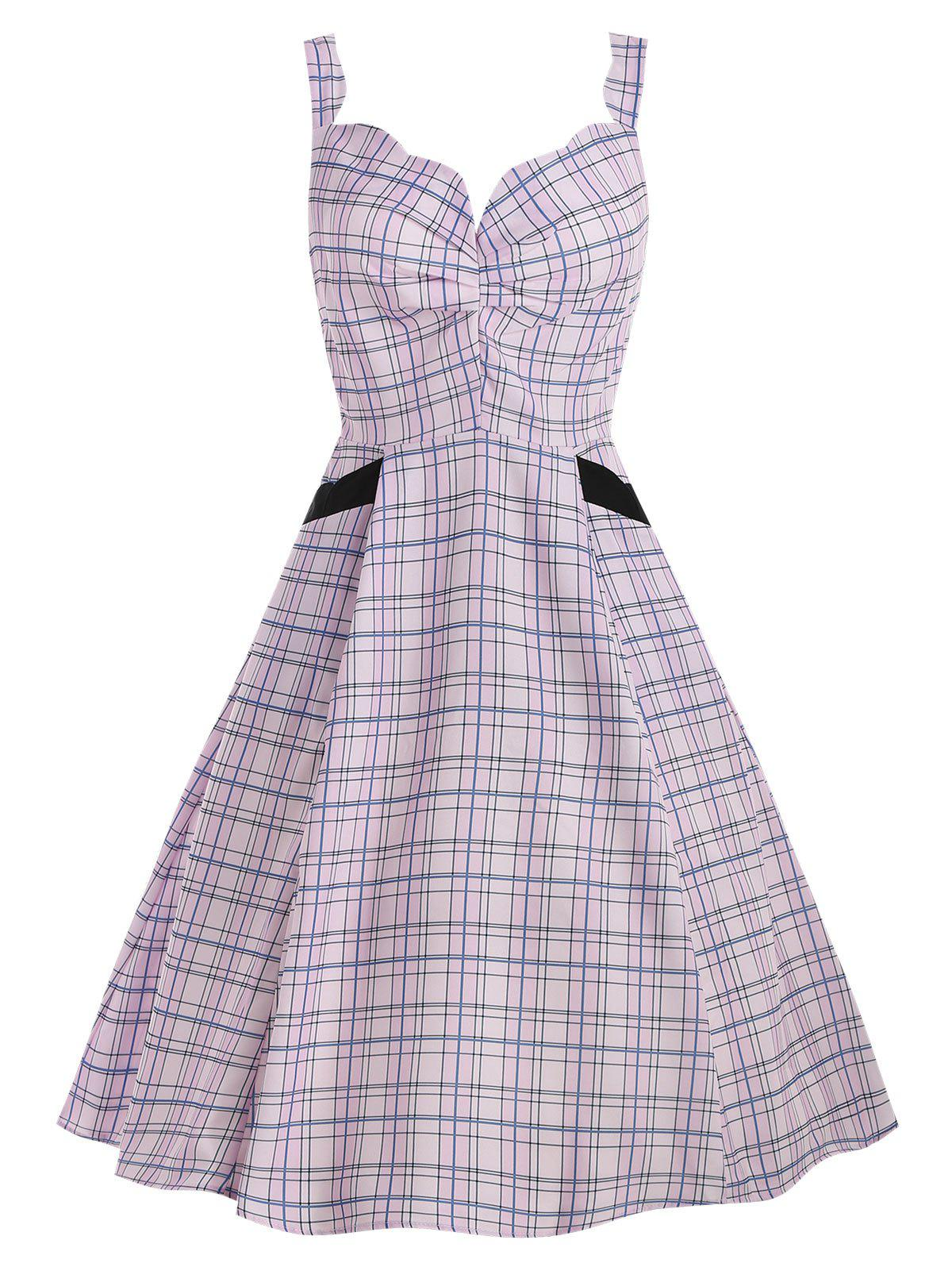 Trendy Scalloped Checked Midi Fit and Flare Dress