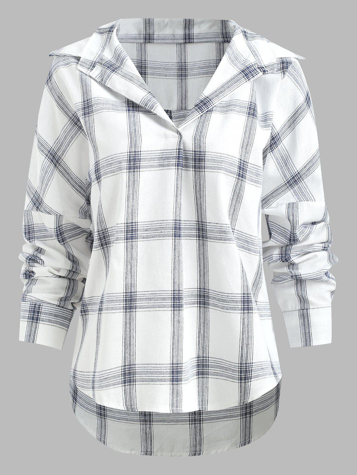 Latest Plaid Print Drop Shoulder Blouse