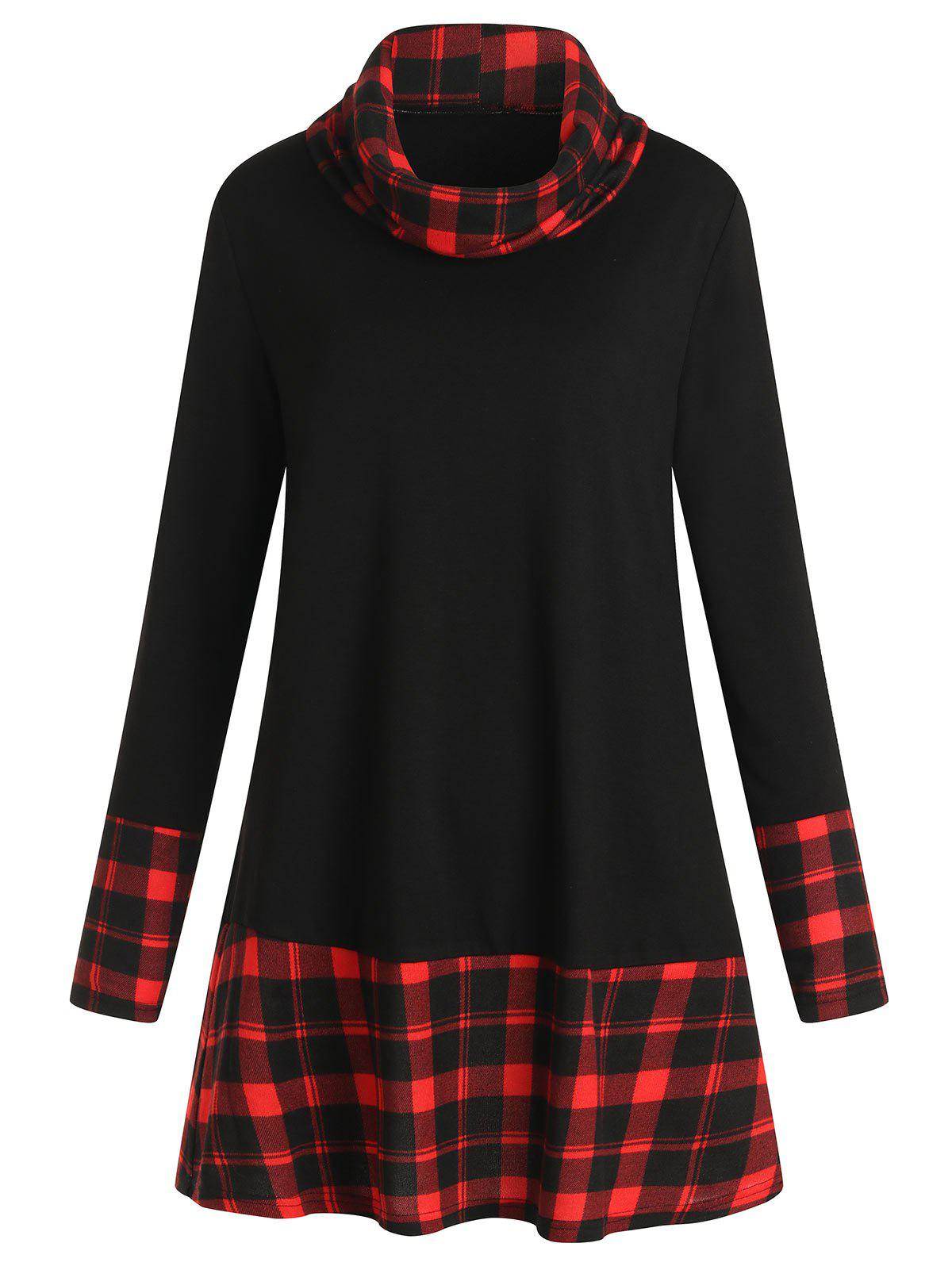 Image of Tartan Panel Long Sleeve Turtleneck T-shirt