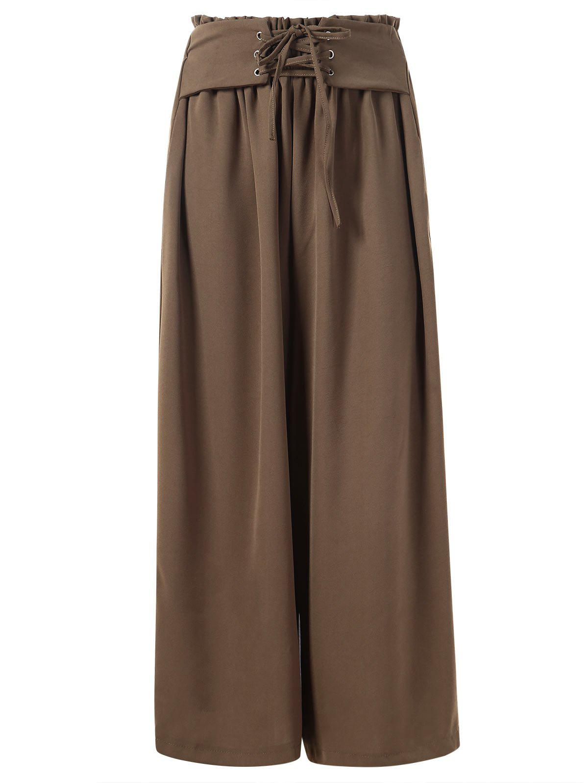Cheap Ruffled Waist Wide Legged Pants with Lacing