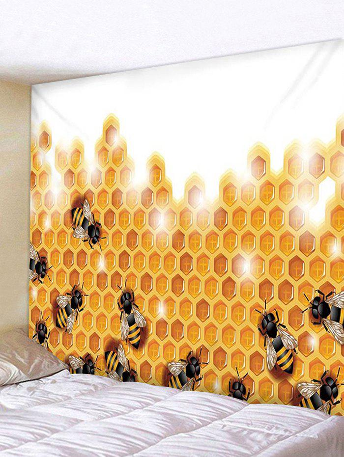 2019 Honeycomb Bees Print Tapestry Wall Hanging Decoration