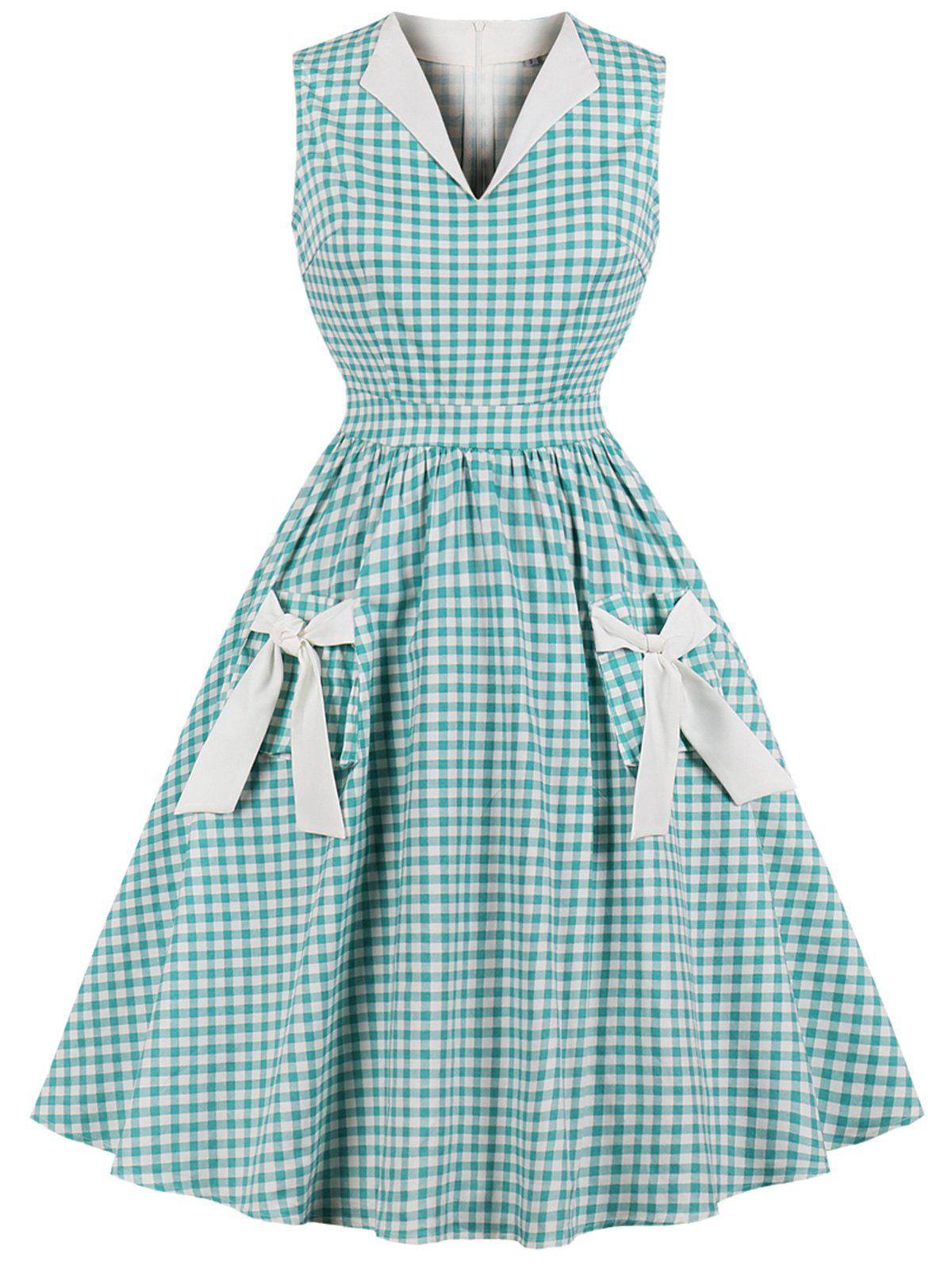 Buy Vintage Gingham Bowknot Pin Up Dress